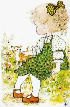 Sarah Kay with kitten Sarah Key, Holly Hobbie, Australian Artists, Cute Images, Cute Little Girls, Illustrations, Cute Illustration, Vintage Cards, Vintage Children