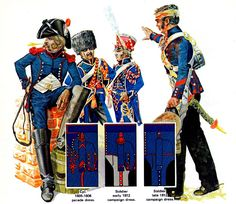 "FRANCIA - ""Artillery Train of the Guard""   • Soldier 1805-1806 campaign dress  • Trumpeter 1815 campaign dress  • Trumpeter 1809-1811 parade dress  • Corporal 1813-1814 campaign dress  Emir Bukhari"