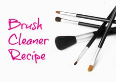 Daily brush cleaner recipe: In a small bowl, combine: -1 cup distilled water -1/4 cup 91% isopropyl alcohol -3/4 tablespoon baby shampoo -1 or 2 drops of tea tree oil.  Whisk these ingredients together, then pour into a small spray bottle. For deep clean: monthly soak in baby shampoo & let dry off the ledge of bathroom counter.
