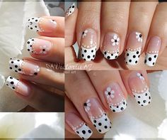 French Nail Art in black and white with polka dots and flowers ?