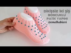 Knit Slippers Free Pattern, Baby Booties Knitting Pattern, Knitted Booties, Crochet Baby Shoes, Knitted Slippers, Knit Mittens, Baby Knitting Patterns, Knitted Hats, Crochet Patterns