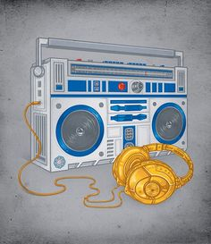 Star Wars Tshirt – R2-D2 Boombox and C-3PO Headphones