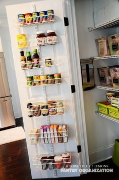 How to organize the pantry | A Bowl Full of Lemons - canned goods on the drawers...good idea!