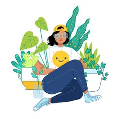 Megan Pelto Illustration — California Plant LadyYou can find illustration girl and more on our website. Art And Illustration, Illustration Design Graphique, Art Graphique, Character Illustration, Girl Illustrations, Arte Fashion, Posca Art, Art Watercolor, Plant Drawing