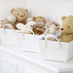 Set Of Three White Shelf Baskets, Nursery Collection In White Waffle, Shop By Nursery Theme, Nursery