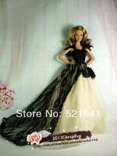 Sin gastos de envío, de la boda vestido de ropa de fiesta vestido de traje para la muñeca barbie