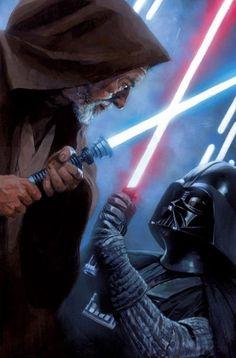 The Life and Legend of Obi-Wan Kenobi - Star Wars Vader - Ideas of Star Wars Vader - Star Wars: The Hugh Fleming Gallery // artwork by Hugh Fleming Star Trek, Star Wars Fan Art, Star Wars Jedi, Anakin Vader, Anakin Skywalker, Darth Vader, Stargate, Alec Guinness, Images Star Wars
