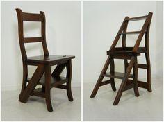 銘木マホガニー 無垢材 2way ステップ チェア 踏み台 木製 椅子 脚立 ダーク|椅子(チェアー)・スツール|81jp_store|ハンドメイド通販・販売のCreema