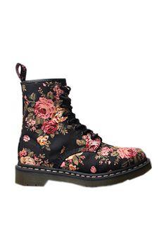 Floral Print Black Dr.Martens Boots [AS1243] -