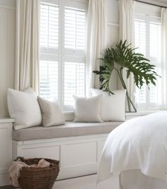 Do I add curtains in living room window seat area? Combining plantation shutters with curtains privacy coziness warmth (for Grayson's room) Room, Interior, Home Bedroom, Shutters With Curtains, Home Decor, House Interior, Interior Design, Home And Living, Window Seat