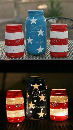Outdoor 4th of July Decor • Great ideas and Tutorials! Including these wonderful diy patriotic jar lanterns from 'addicted 2 diy'.