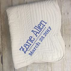 What a special shower gift!  These oversized quilted throws make perfectly personalized gifts for so many occasions!  Contacts Lightning Bug Gifts today!  Fast shipping on all in stock, personalized gifts.