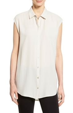 Eileen Fisher Silk Georgette Classic Collar Tunic Shirt