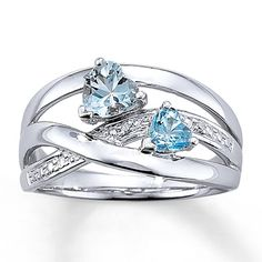 Blue Topaz Ring Diamond Accents Sterling Silver! Just got this gorgeous ring for myself today! Just love it! its so romantic! and so me!