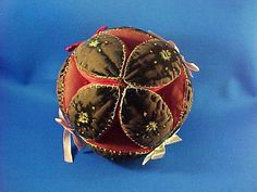 Antique c 1900 Amish Velvet Puzzle Ball Pin by AmericanaAntiques