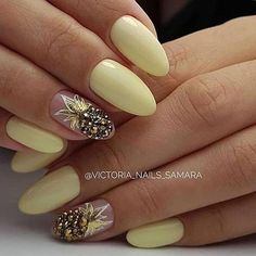 Here are the 10 most popular nail polish colors at OPI - My Nails Pineapple Nail Design, Pineapple Nails, Cute Acrylic Nails, Cute Nails, Pretty Nails, Yellow Nails Design, Yellow Nail Art, Hair And Nails, My Nails