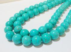 Blue Magnesite Gemstone Smooth Round Beads 16 Inch by BijiBijoux, https://www.etsy.com/listing/124852100/blue-magnesite-gemstone-smooth-round