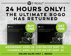 The ultimate #BOGO‬ has returned for 24 hours, ONLINE only! When we #braketheinternet our CEO rewards us by extending the sale!! Happy Wrapping!!!  Go to: http://www.laterewraps.myitworks.com, click on the BOGO sale, check out as a loyal customer and score 8 wraps for only $59 {that's $200 value!!!!!} ✌❤ #haveyoutriedthatcrazywrapthing #itworksglobal #health #livewell #natural #botanical #remedies #California #LosAngeles #USA #London #Europe #Australia #Canada #Germany #Denmark #Sweden…