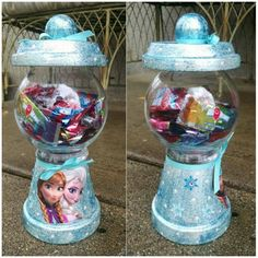 Frozen Disney Gumball Machine Candy Clay Pot