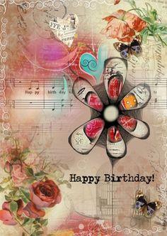 Mooi verjaardagskaartje met mixed media design. #happybirthdayquotes
