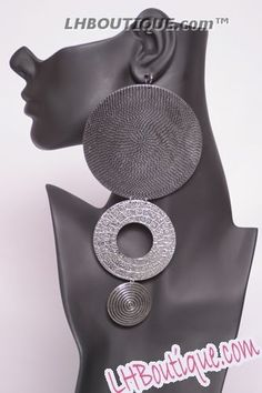 Luxe Beauty Supply - Basketball Wives Silver Burnished Circular Drop Earrings (http://www.lhboutique.com/basketball-wives-silver-burnished-circular-drop-earrings/) #FashionJewelry, #LuxeBeautySupply, #FashionAccessories