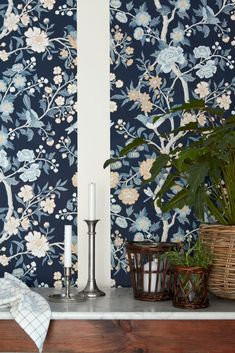 A new collection of wallpaper inspired by New England authors from Borastapeter in collaboration with Lexington. Botanical Wallpaper, Butterfly Wallpaper, Wall Wallpaper, Pattern Wallpaper, Oriental Wallpaper, Interior Design Programs, Arts And Crafts House, Retro Home, Blue Walls
