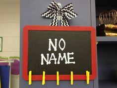 Grade - Classroom Management - No Name Board- This is a great way to display no-name papers so that all the kids can see them. This would also teach students responsibility with making sure their work is turned in with their name on it. Disney Classroom, 4th Grade Classroom, Classroom Displays, Future Classroom, School Classroom, Classroom Themes, Superhero Classroom, Classroom Procedures, Classroom Organisation