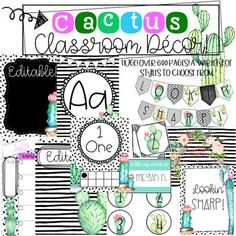 Cactus themed classrooms are on POINT! ;) This BUNDLE is perfect if you are looking for a cactus themed classroom with style! This packet has black and white geometrical backgrounds with touches of cactus/succulent clip art that will perfectly modernize your