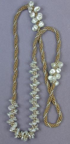 Donna's awesome Spiral Rope Necklace made with freshwater pearls and seed beads.