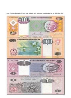 Both paper and coin money in a PDF file.  Simply download and print off.  Cut currency and place pieces back-to-back so they create realistic money.  Laminate for long-term use.  Great for learning about world currency, the country of Angola and for using in theme-related math studies.