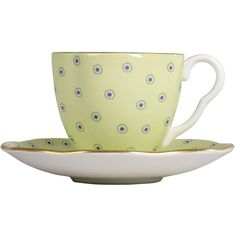 Wedgwood Polka Dot Cup and Saucer - Green ($51) ❤ liked on Polyvore featuring home, kitchen & dining, drinkware, tea, acc, decor, filler, food, clearance and wedgwood