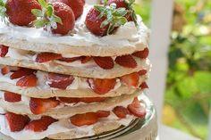 Midsummer strawberry meringue layer cake