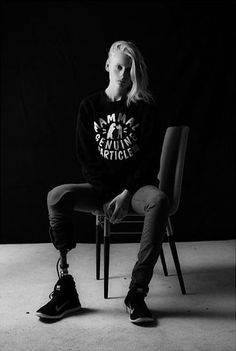 The amazingly strong Lauren Wasser wearing the Mammal Genuine Article sweatshirt.   Photo: Jennifer Rovero (camraface)  Read her story here. http://www.vice.com/read/meet-the-model-who-lost-her-leg-to-toxic-shock-syndrome-611