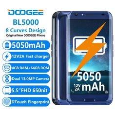 cool DOOGEE BL5000 Dual 13.0MP Camera Android 7.0 5050mAh 12V2A Quick Charge 5.5'' FHD MTK6750T Octa Core 4GB RAM 64GB ROM Smartphone