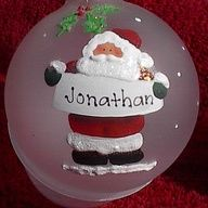 Leave the white banner blank so that they can be personalize.  cute idea could be done in snowman, angel mrs clause etc sell as a set.   Personalized Christmas ornaments! Hand painted!