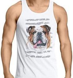 Camiseta de bulldog inglés en color blanco y tirantes para chico Tank Man, Mens Tops, Color, English Bulldogs, Best T Shirts, Suspenders, Sweatshirts, White People, Colour
