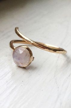 Faceted Rainbow Moonstone - 14K Gold Filled Wrap Around Adjustable Ring