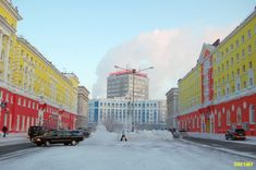 Leninskiy Prospekt  in Norilsk,   Siberia, Russia    ----------                             A city in the arctic dessert. A city without a single tree. A polar oasis.
