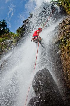 Waterfall rappelling at Antelope Falls in Belize #MeetTheMoment