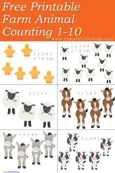 Free Farm Animal Counting 1-10 Printable - so cute!