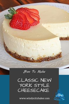 Rich dense and creamy filling with a graham cracker crust this classic new york style cheesecake will become your new favorite cheesecake recipe dont miss this tutorial with step by step photos and instructions! lucinda s new york style cheesecake Easy No Bake Cheesecake, Baked Cheesecake Recipe, Best Cheesecake, Homemade Cheesecake, Classic Cheesecake, Cheesecake New York Recipe, Cheesecake With Sour Cream, Plain Cheesecake, Cheescake Recipe