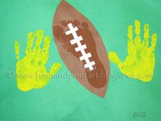 Feb 3, 2013- First Sunday in Feb. Handprint & Footprint Football Craft for kids ~ Have the kids make at a Superbowl Party Football Crafts, Football Themes, Football Art, Sport Football, Soccer, Rugby, Daycare Crafts, Classroom Crafts, Kid Crafts