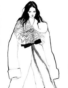 Fashion illustration based on a Marc Jacobs coat; stylish fashion drawing // Bijou Karman