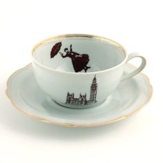 Redesigned  Mary Poppins Cup and Saucer Nanny Tea or Coffee Porcelain Vintage Musical Film Big Ben London England White Brown Romantic