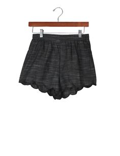 Dark Chambray Scallop Shorts | Charcoal Black Shorts | Made in USA | Made in America | Ethical Fashion | Ethical Clothing