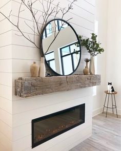 Newest Photo Electric Fireplace ideas Style These gorgeous wood vases are back in stock (they were out of stock for a long time) and I've use Fireplace Remodel, Fireplace Mantle, Fireplace Design, Fireplace Ideas, Bedroom With Fireplace, Beach Fireplace, Wall Mounted Fireplace, Shiplap Fireplace, Linear Fireplace
