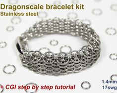 Dragonscale Bracelet Kit,  Chainmaille Kit, Stainless Steel, Chainmail Kit, Jump Rings, Chainmaille Bracelet Kit, Chainmail Tutorial