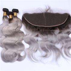 1b/grey# Brazilian Virgin Hair Body Wave 3 Pcs Hair Bundles With 1 Pc 13*4 Lace Frontal MSBW008