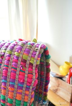 colourful rag rug hung over chair (Five Kinds of Happy blog -- click through for more pics)