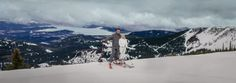 Matt Shumate Photography at Schweitzer Mountain Resort winter wedding panorama portrait of bride and groom with lake pend orielle behind them